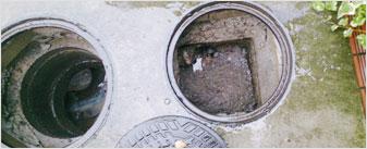 屋外排水管のつまり