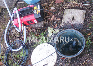 排水マスの高圧洗浄