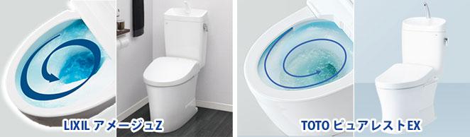 トルネード洗浄のタンク付きトイレ